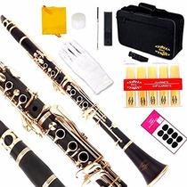 Clarinete Glory B Profesional Negro Teclas Doradas Musical