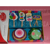 *kit Decorativo Capacillos Pics Cupcake Cumple Globo Fondant