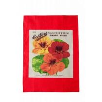 Tea Towel - En Nastartium Red Lavarse Encima Del Plato De Se