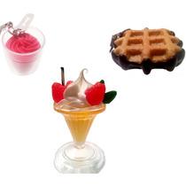 Set De Straps De Postres Waffle Fresas Con Crema Helado Y140