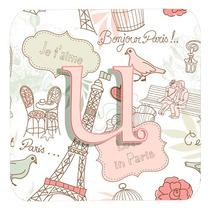 Conjunto De 4 Letra U Amor En París Pink Espuma Cerveza Cj2