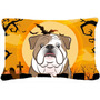 Bulldog Inglés De Halloween Tela Almohada Decorativa Bb1777