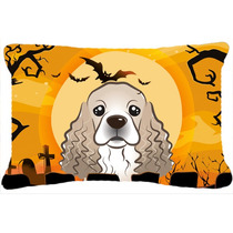 Cocker Spaniel De Halloween Tela Almohada Decorativa Bb1774p
