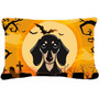 Tan Dachshund Liso De Halloween Tela Almohada Decorativa Y N