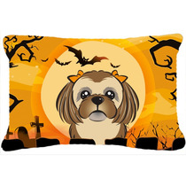 Marrón Chocolate De Halloween Shih Tzu Tela Almohada Decora