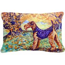 Otoño De Airedale Terrier Tela Almohada Decorativa 7343pw12