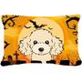 Buff De Halloween Del Caniche Tela Almohada Decorativa Bb181