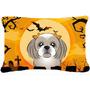 Halloween De Plata Gris Shih Tzu Tela Almohada Decorativa Bb