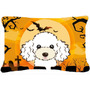 Caniche Blanco De Halloween Tela Almohada Decorativa Bb1815p