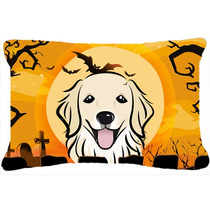 Golden Retriever De Halloween Tela Almohada Decorativa Bb176