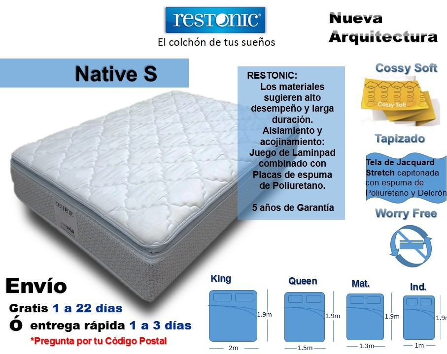 Colch n para cama king size native env o gratis restonic for Cuanto mide una cama king size