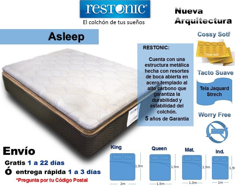 Colch n para cama king size asleep env o gratis restonic for Colchon para cama king size