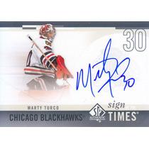 2010 - 2011 Sp Authentic Autografo Marty Turco G Blackhawks