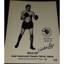 Fotografia Autografiada Firmada Willie Pep Box Boxeo