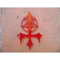 Exotico Dije De Cruz Y Pentagrama Invertido Rojo Transparent