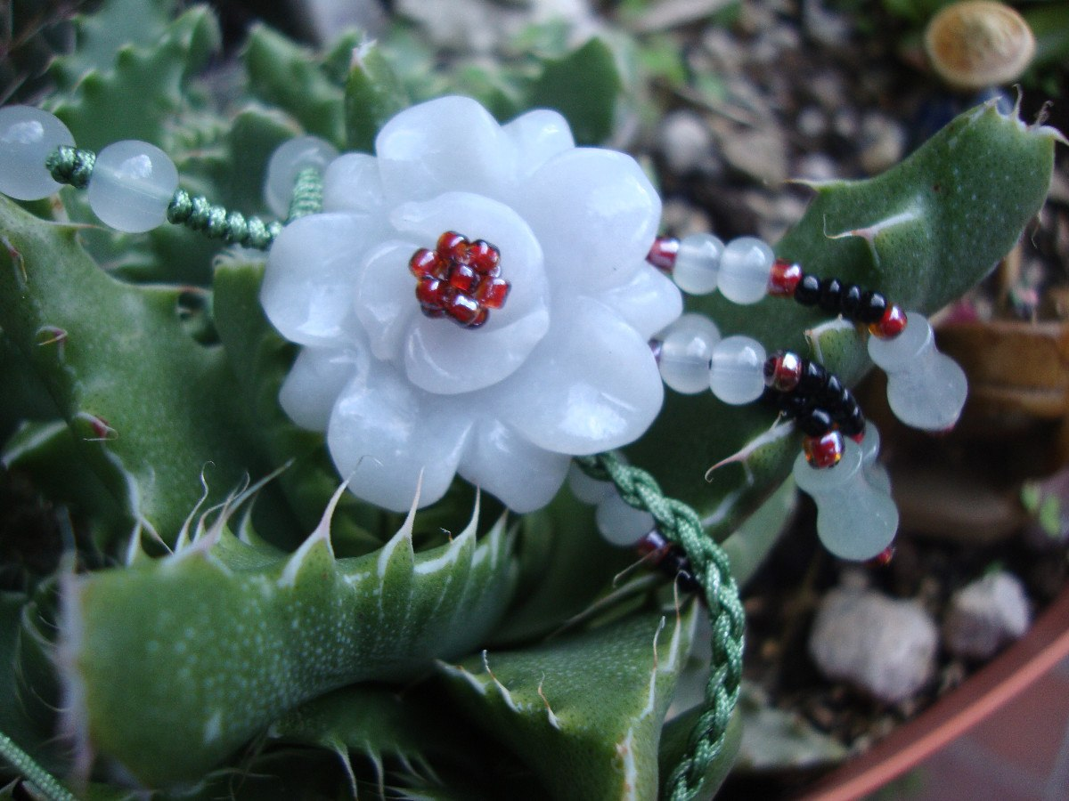 Collar Flor Jade Cordon Verde