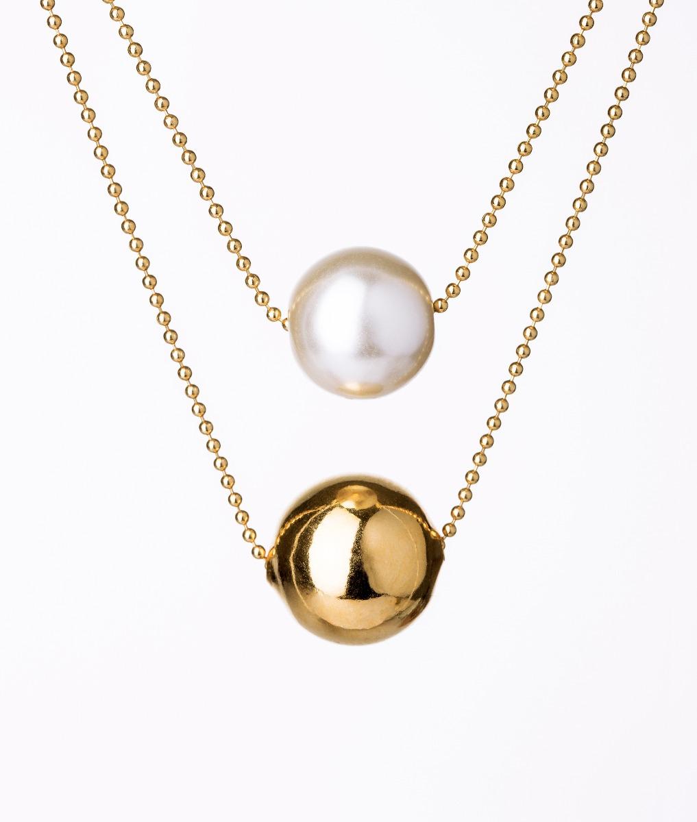 Collar van grieken bola perla blanca dorado ba o de oro - Bano de oro precio ...