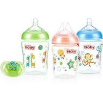 Botellas Nuby 3-pack Natural Touch 9 Onzas Impreso Bebé Con
