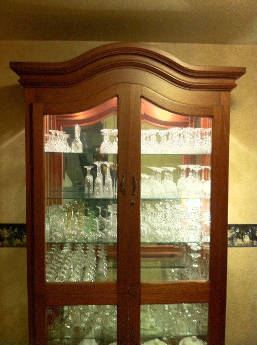 Comedor caoba real iluminado para cristaleria cocina for Espejos horizontales para comedor