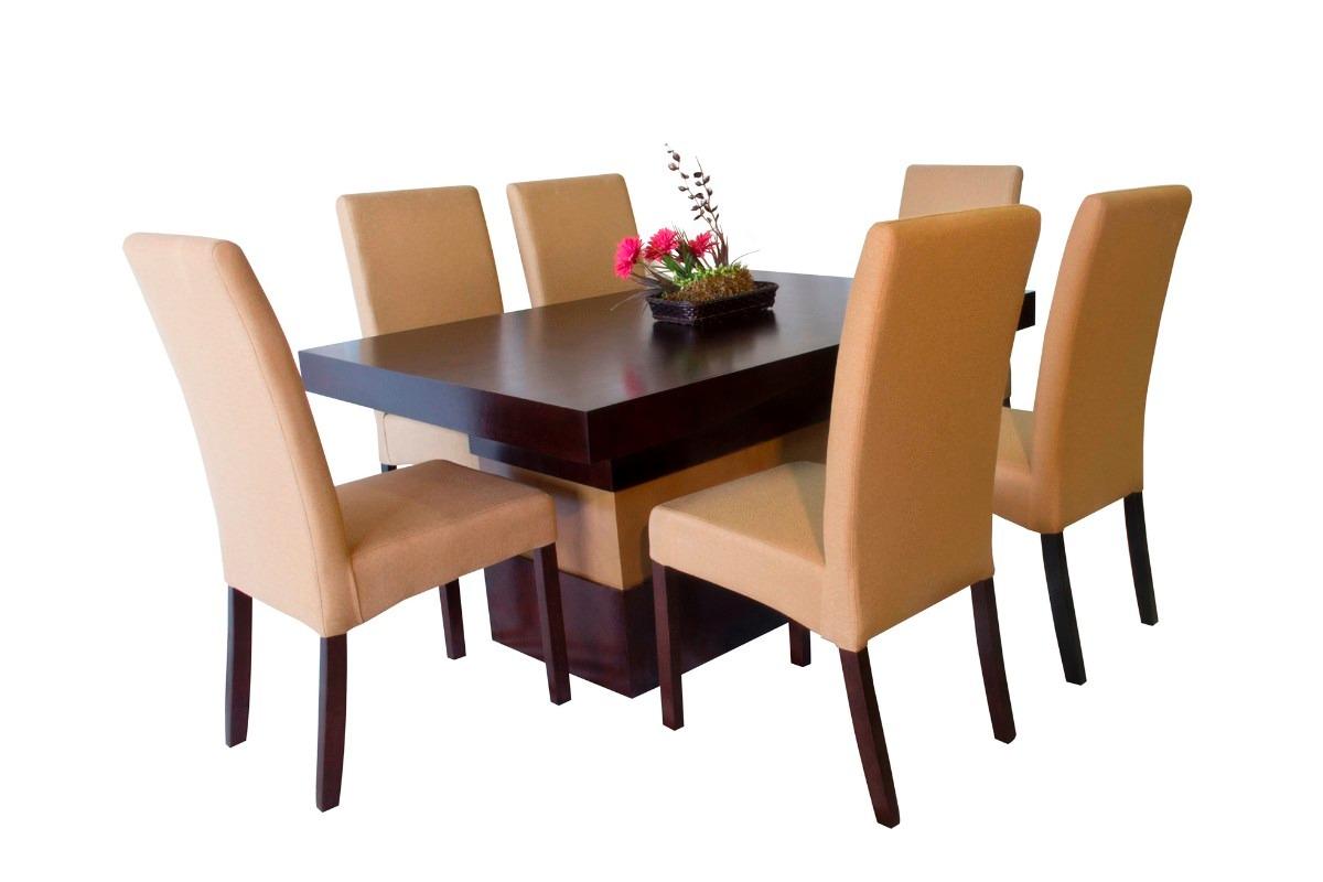 Comedor seis sillas tapizadas muebles el angel 9 050 for Sillas de comedor tapizadas