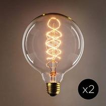 Conjunto De 2 Vintage Red Hook G40 Espiral Filamento Bulbos,