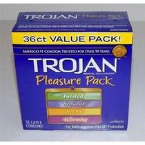 Trojan Pleasure Pack 36 Condones Variedad Estilos En Caja