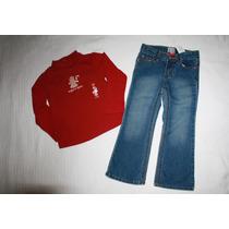 ~gymboree Conj Blusa Roja Y Pantalón Jeans Niña Talla 4