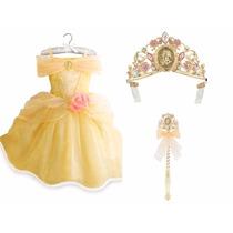 ~disfraz Vestido Bella Original Disney Corona Varita 5/6