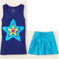 Conj Tcplace Niña Talla 4 Falda C/shorts Y Blusa Nuevo