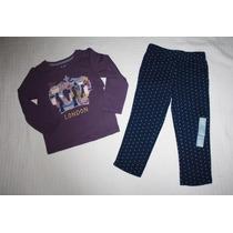 ~gap Conj Blusa London Morado Y Pantalon Marino Niña Talla 3