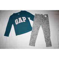 ~gap Conj Blusa C/logo Y Leggings Estampados Niña Talla 4