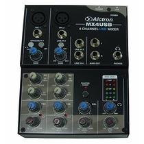 Mezcladora Dj 4 Canales Interfase Audio Usb