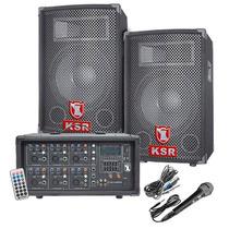 Kit Paquete 2 Bafles Pasivos 1800w Pmpo Mezcladora Microfono