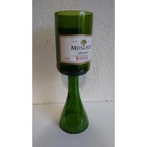 Copa Rustica Verde De Botella Cortada De Vino Tinto Moscato