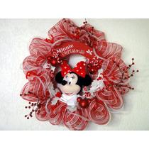 Corona Navideña Minnie Mickey Mimi Disney Decoración Navidad