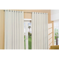 Cortinas De Tergal Strech Blanco Con Ojillos De 140 X 200