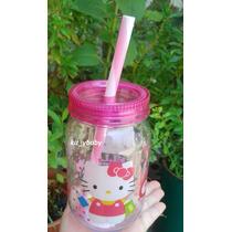 Hello Kitty, Bote Para El Agua Con Tapa Y Popote De Plástico