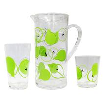 Set De Una Jarra, 4 Vasos Chicos Y 4 Vasos Grandes Mod Peras