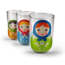 3 Vasos De Vidrio Apilables Babushkas Nuevos Practicos