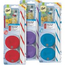 Mason Jar Ball Popotes + Tapas 4 Piezas
