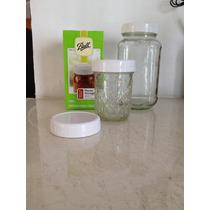 Mason Jar 8 Tapas Plastico Blancas Libres De Bpa Higiénicas