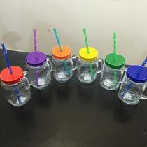 Mason Jar 16oz De Vidrio Con Tapa De Color Y Popote Lavable
