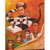 Cuadro Tema Frida Kahlo Acrílico Técn. Mixta Relieve/madera