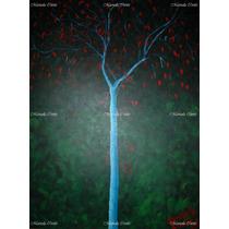 Sin Ti *pintura Original Árbol Verde Tristeza Rojo Hojas