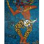 Danzante Y Guerrero Maya *pintura Original Azul Valiente Hom