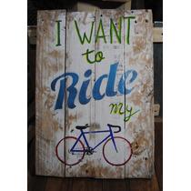 Letrero Retro Ride My Bicycle En Madera Envejecida