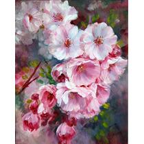 Pintura Oleo/acrilico Flores De Sakura A Mano Envio Gratis!