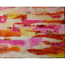 Pintura Acrilica Sobre Tela Naranja Rosado 45x35x2cm