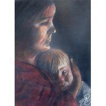 Yolanda Perez Chao Dibujo Al Pastel Madre E Hijo