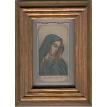 Cuadro Con Estampa Antigua De Pequeña Virgen Azul Sin Año.